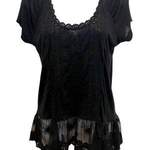 Jessica Simpson Black Eyelet Lace Peplum T-Shirt S
